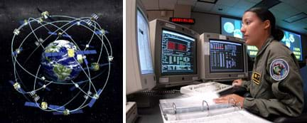 Two images: A diagram shows GPS satellites orbiting the Earth. A woman in a uniform sits at a desk with three monitors and a notebook open in front of her.