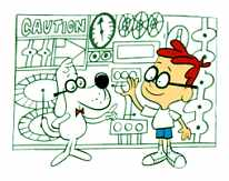 A nerdy boy and his nerdy dog stand in front of a contraption with buttons and dials.