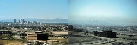Two photographs depict the difference in air visibility due to high levels of smog. On the hazy day, the city skyline is barely visible.