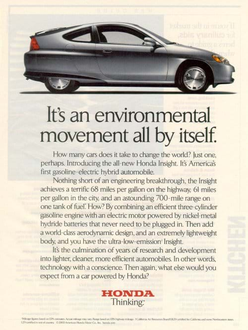 "An ad features a side photograph of the sleek little car with the headline, ""It's an environmental movement all by itself,"" followed by a three paragraphs of persuasive writing."