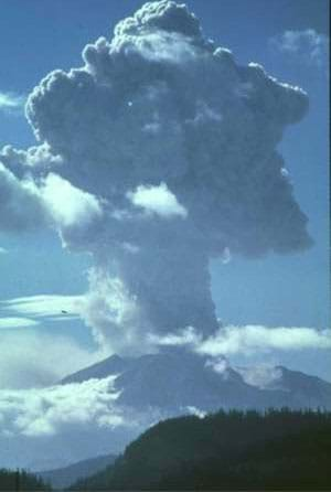 Photograph of an erupting volcano.