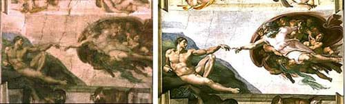 Two photos: A ceiling painting is murky and dark. After cleaning, the same painting is bright, crisp and clear.
