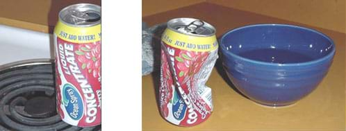 Photographs of an aluminum can being heated on a the coiled burner of an electric stove and the same can crushed after it was inverted over a bowl of cold water.