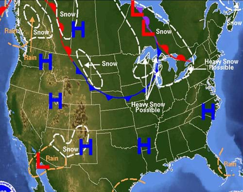 A map of North America with overlaid symbols such as dashed lines, Hs (high pressure), Ls (low pressure), snow, rain, and lines with triangles or bumps. The symbols indicate low-pressure zones in the midwestern U.S. and western Mexico, and a high pressure zone in central northern Canada.