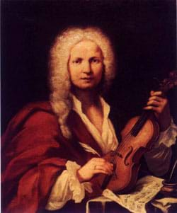 Painting of a man holding his violin.