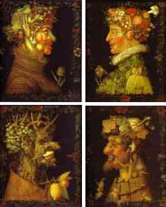 Four painting illustrate the seasons with side views of men, composed of the fruits and textures of the four seasons.