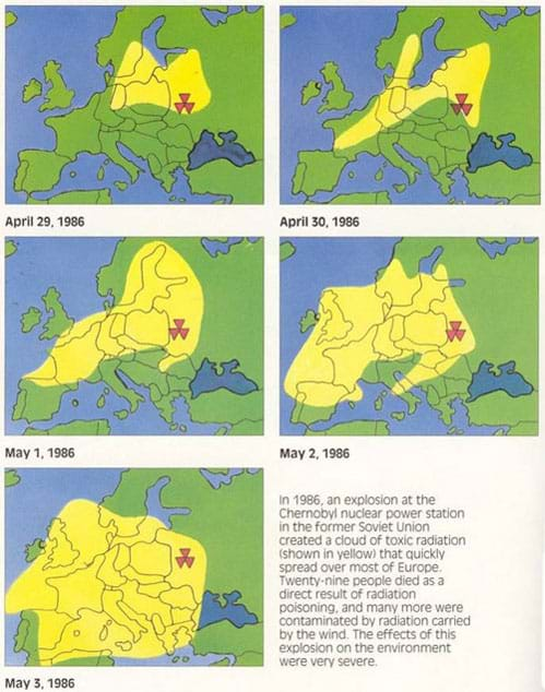 In five maps, a yellow area indicates the expanding radiation movement over Europe over five consecutive days, with Chernobyl marked by a red three-triangle symbol.