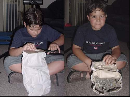 Photos show a student cutting open a vacuum cleaner bag and finding dirt trapped inside.