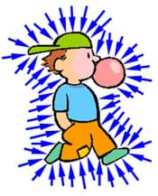 A cartoon shows a walking boy with arrows pointing at him from all directions to represent air pressure pushing on him.