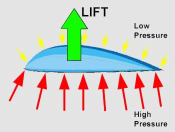 A colorful diagram shows large, red arrows (representing high air pressure) pushing up on a wing from below, while small, yellow arrows (representing low air pressure) are pushing down on the wing from above.  The result is one large, green arrow, which represents the lifting force, pointing upwards.