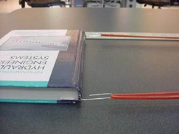 A photo shows two paperclips that are each attached to rubber bands. Each free end of the paperclip is bent at a right angle and slipped into the ends of the same textbook spine.