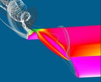 A colorful drawing shows a computer simulation of a wing moving through the air.  A vortex is extending off the edge of the wing, which demonstrates the induced drag at the tip of an aircraft wing.