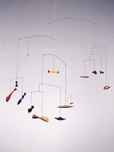 A mobile with 14 hanging items.