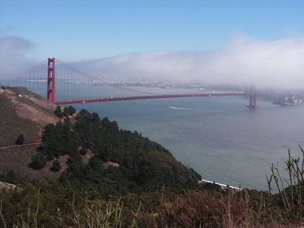 Red spires of the bridge in fog.