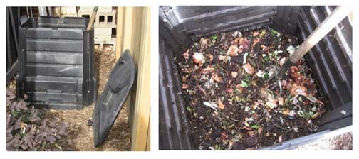 Photos show a cubic meter plastic bin for making compost, and close-up of pitchfork stuck into pile of compost of household food scraps.