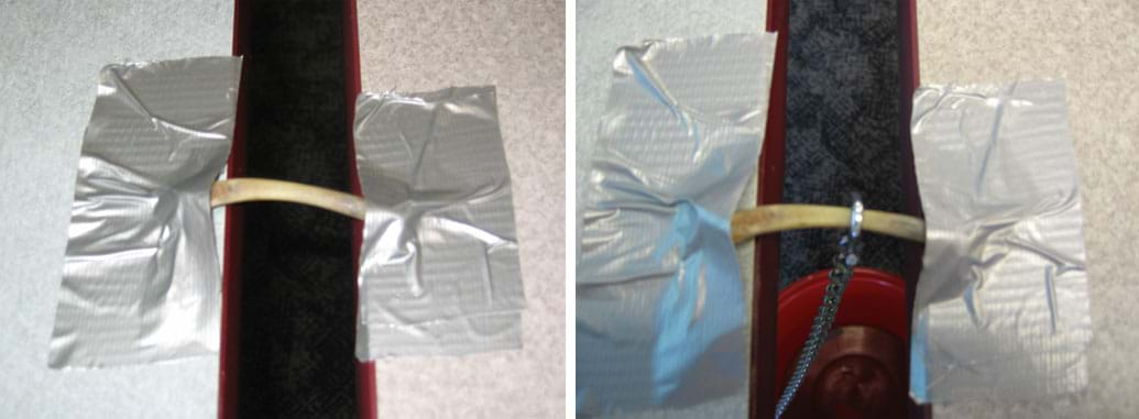 Two photos: (left) Duct tape secures each end of a bone to a tabletop. (right) The same set-up with an S-hook attached to the bone holds a chain that holds a bucket.