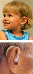 Two photos show a young girl and an older man, each wearing behind-the-ear hearing aids.