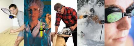 Five photos show people playing handball, working in a lab with chemicals, using a circular saw, skiing in deep snow and swimming – all wearing protective eyewear.