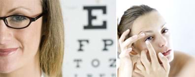 Two photos show a woman wearing eye glasses with a backdrop of a testing eye chart, and another woman putting a contact lens in her eye.