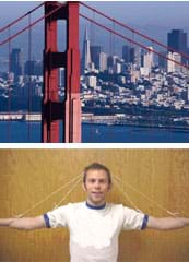 (top) Photo of the Golden Gate Bridge (bottom) Photo shows two pieces of string tied to the arms and elbows of a person and stretched over the top of his head forming two A shapes.