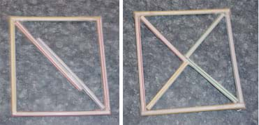 Two photographs. Left: A square shape made with drinking straws is divided into two triangles. Right: A square shape made with straws is divided into four triangles with an inner X shape.