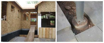 Photos show (left) the entrance to an unfinished wood-framed house built on a concrete foundation, and (right) the base of a cylindrical steel column bolted to a buried cylindrical concrete foundation.