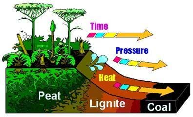 Diagram shows formation of coal from peat (a carbon-containing substance) into lignite and into coal over the passage of time while subjected to high pressures and heat.