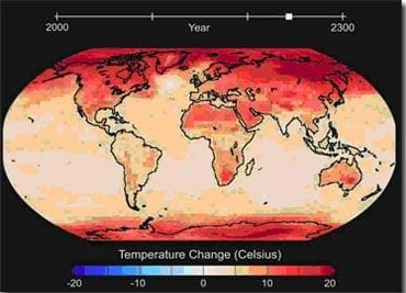 A color-coded map of the Earth's continents shows the predicted increases in temperatures from year 2000 to 2300.
