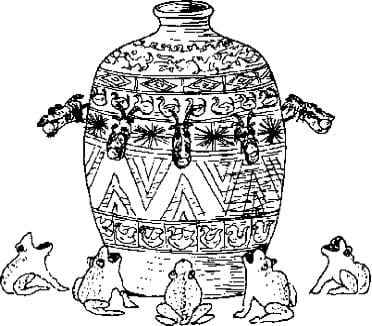 A black and white sketch of the first siesmoscope. Shown is an object that resembles an ornate vase with eight dragon heads coming out of the top of it, each with an open-mouthed toad beneath it at the base.