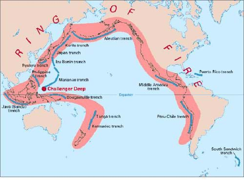 A map shows the Pacific Ocean and its surrounding continents with the area that is considered the Ring of Fire shaded in red.