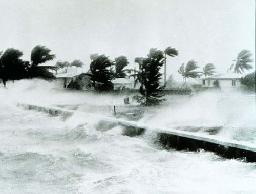 Photo shows heavy storm winds bending palm trees and blowing waves of ocean water over barriers and houses.