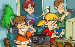 A colorful cartoon shows a family of four in their home: The mother, holding a book, is turning on a wall light switch, the father is using a drill to make a hole in the wall, the son is listening to a cassette tape player with headphones, and the daughter is working on a computer.