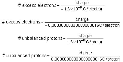 Equations for excess electrons and unbalanced protons