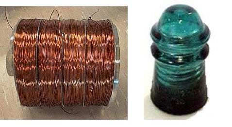 Two photographs. On the left is a large spool of copper wire. On the right, a green glass insulator is cylindrical in shape with a domed top.