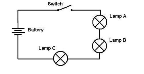 A Circuit Diagram For A Three Light Bulb Series Circuit. Lines Represent  Wire,