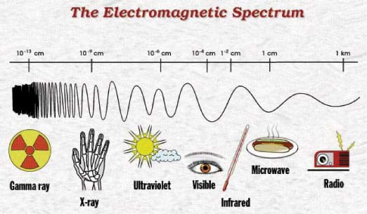 A diagram shows a range of wavelengths: gamma rays, x-rays, ultraviolet, visible, infrared, microwave and radio—and examples of them, such as a radio, microwaved food, a seeing eye, the Sun, bones of an x-ray of a hand.