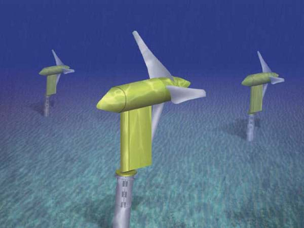 Generated image of three, three-blade propeller turbines under water.