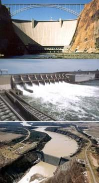 Photographs of three different types of dams.