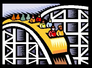 A drawing of five roller coaster cars filled with people heading down a steep roller coaster hill.
