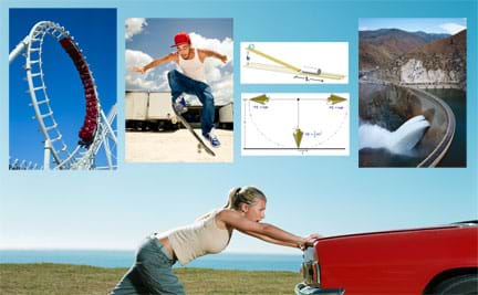 Six images: (background) Photo of a girl pushing the back of a vehicle on country road, (left to right) photo of ride cars on a roller coaster loop, a skateboarder jumps with the board floating below his feet, diagrams showing a ball at the top of a ramp with a catch can at the bottom, diagram showing a pendulum at the high, low and opposite high of a swing, and photo of water gushing through an opening in a river's dam.