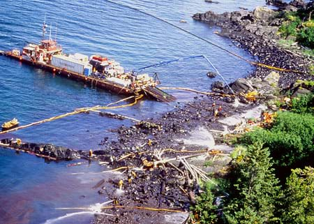 A photograph shows beach workers and a maxi-barge joining forces to clean a gunky black beach after the Exxon Valdez oil spill.