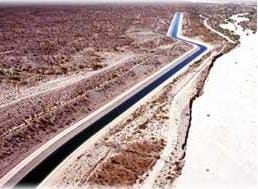 A photograph of the Hayden-Rhodes Aqueduct in Arizona.