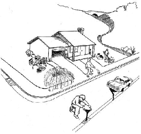 A black and white drawing of a house with mountains in the background and a street in the foreground. The drawing shows a person pouring oil into a street gutter, a car leaking oil, a sprinkler running onto the sidewalk and another person throwing trash on the ground.
