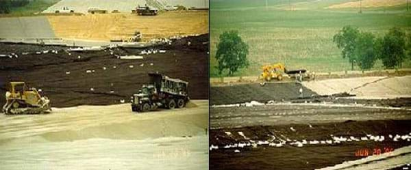 Two photos show different views of heavy equipment (dump trucks, bulldozers) spreading a layer of sand over a big area of land.