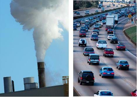 "Two photos: (left) A factory producing tremendous amounts of smoke. (right) Heavy traffic during what appears to be ""rush hour"" on a major highway."