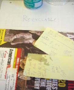Photo shows post-it notes and a magazine.
