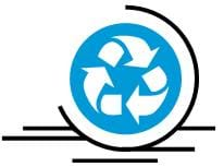 A blue and white recycle symbol composed of a circle with three curved arrows flowing clockwise around the it.