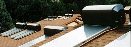 A photograph showing thermosiphon solar water heaters on employee housing at Yosemite National Park.