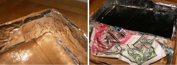 Two photos: (left) Shiny aluminum foil shaped into the corner and walls of a shallow box, (right) shallow box bottom lined with black-painted piece of cardboard sitting atop crumpled newspapers.