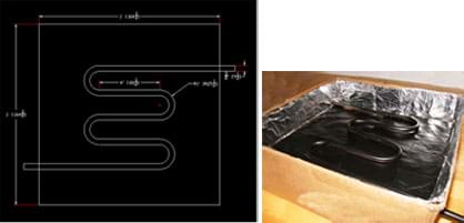 (left) A CAD drawing shows a tube bent with four switchback-curves to make a curvy shape. (right) A photo shows a box lined with foil, with a black-painted snake-shaped coil across the black-painted box bottom.